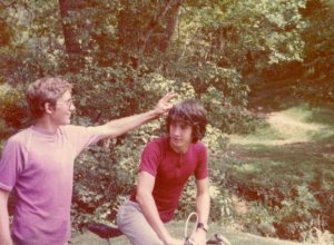 In 1978 a few Scouts made a bicycle trip to Coytee Springs. I'm on the left, up to shenanigans with Jeff Vondy, the Scoutmaster's older son.