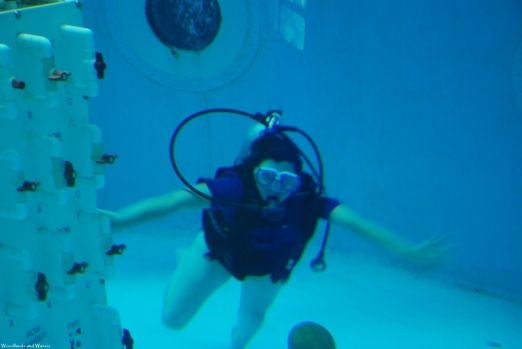 Ruth in the scuba tank at the U.S. Space and Rocket Center