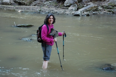 Ruth crossing the Blackburn Fork River below Cummins Falls